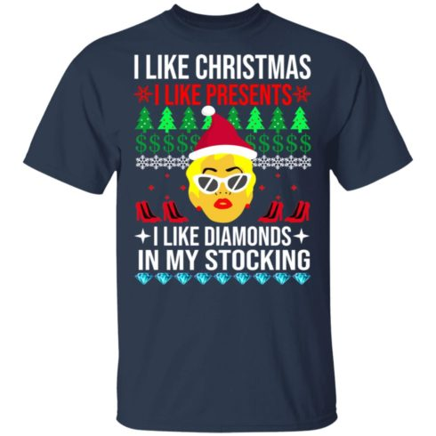 redirect 1529 490x490px I Like Christmas I Like Presents I Like Diamonds Cardi B Christmas Shirt