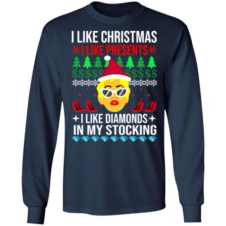 redirect 1532 750x750px I Like Christmas I Like Presents I Like Diamonds Cardi B Christmas Shirt
