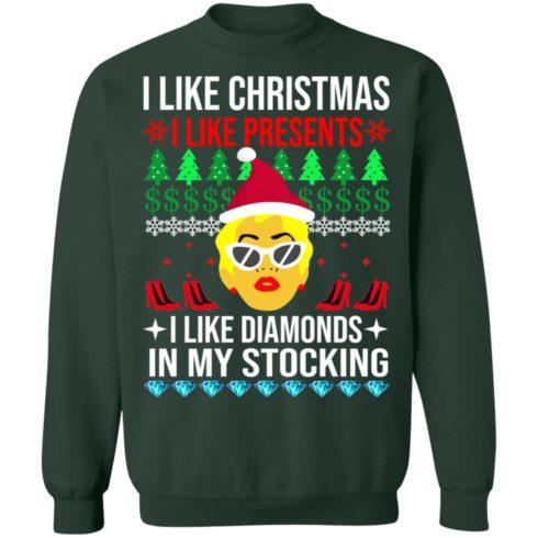 redirect 1537 490x490px I Like Christmas I Like Presents I Like Diamonds Cardi B Christmas Shirt