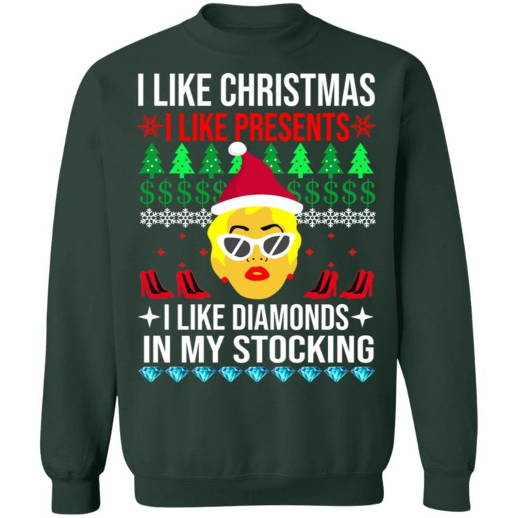 redirect 1537 750x750px I Like Christmas I Like Presents I Like Diamonds Cardi B Christmas Shirt