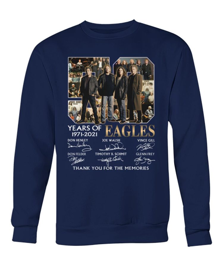 kZ9ynw JnVyBKR OKGxvzL front large 1 750x892px 50 Years Of Eagles 1971 2021 Thank You For The Memories Shirt
