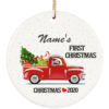 redirect 10 100x100px Our First Christmas Engaged Engagement Personalized Ceramic Circle Ornament
