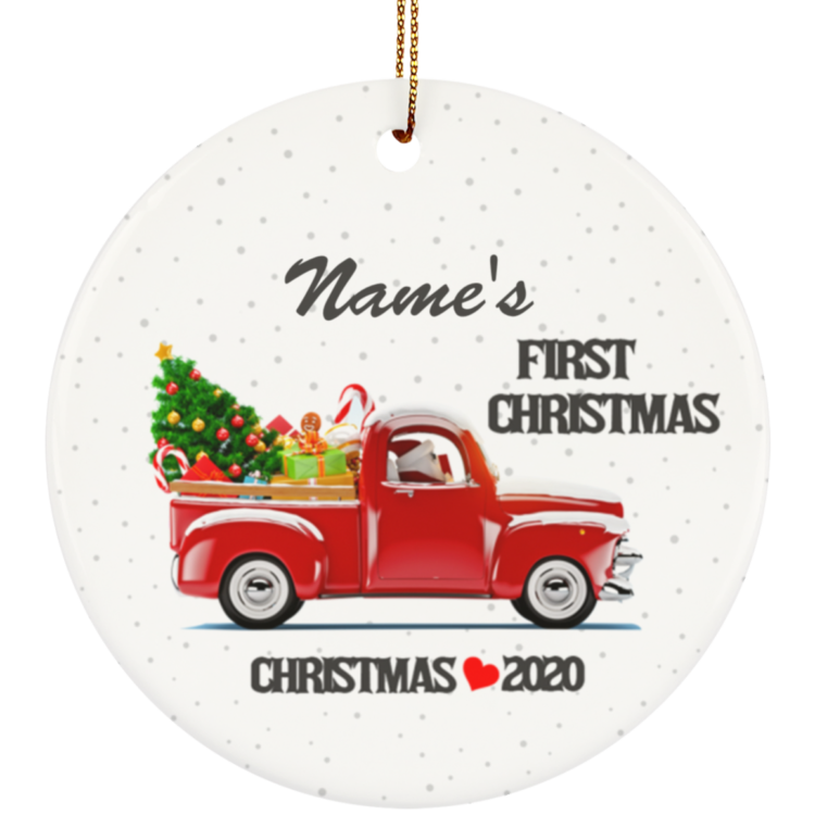 redirect 10 750x750px First Christmas 2020 Personalized Baby's Name Ceramic Circle Ornament