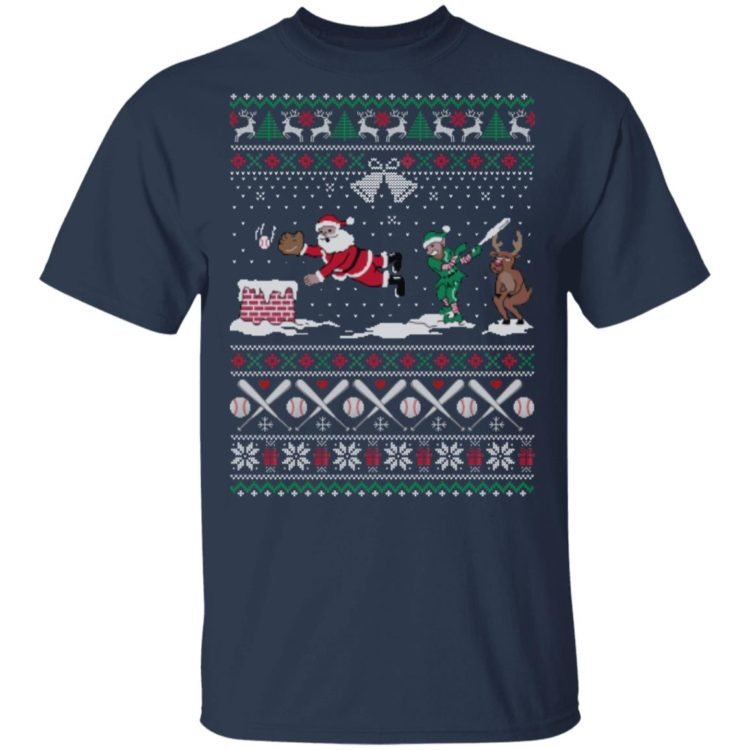 redirect 439 2 750x750px Santa Playing Baseball Funny Ugly Christmas Shirt