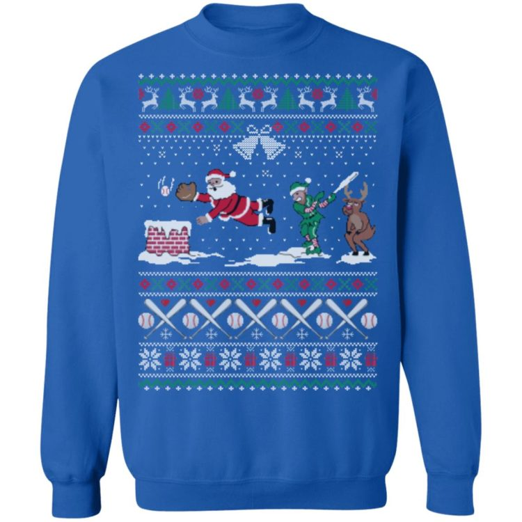 redirect 448 2 750x750px Santa Playing Baseball Funny Ugly Christmas Shirt