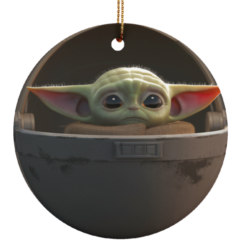 redirect 5 2 490x490px Baby Yoda Ceramic Circle Ornament for Christmas