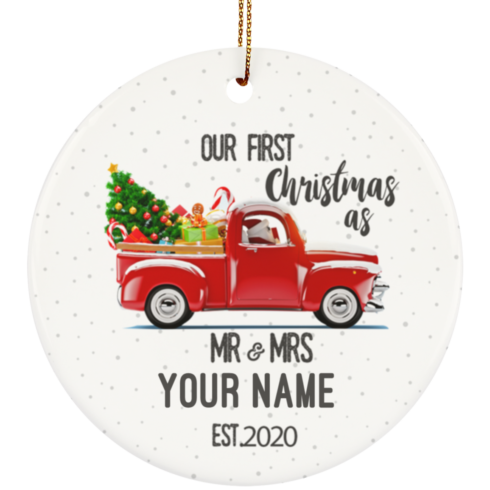 redirect 7 490x490px Our First Christmas As Mr & Mrs Personalized Ceramic Circle Ornament