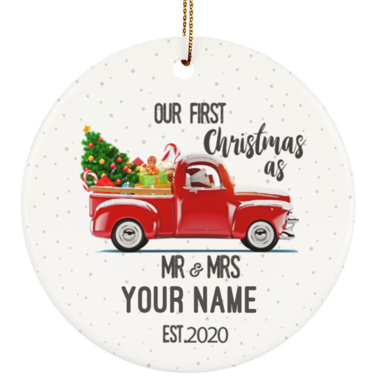 redirect 7 750x750px Our First Christmas As Mr & Mrs Personalized Ceramic Circle Ornament