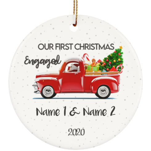 redirect 8 490x490px Our First Christmas Engaged Engagement Personalized Ceramic Circle Ornament