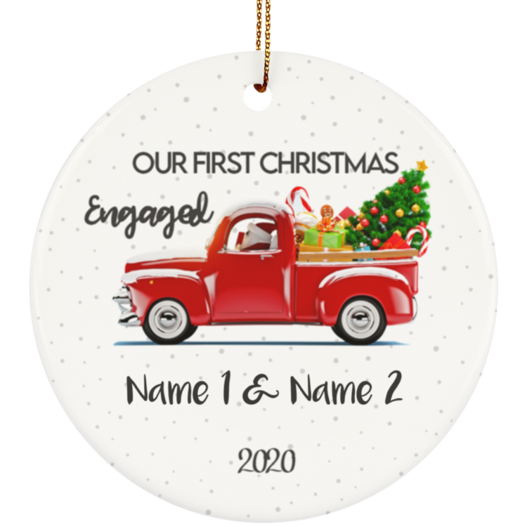 redirect 8 750x750px Our First Christmas Engaged Engagement Personalized Ceramic Circle Ornament