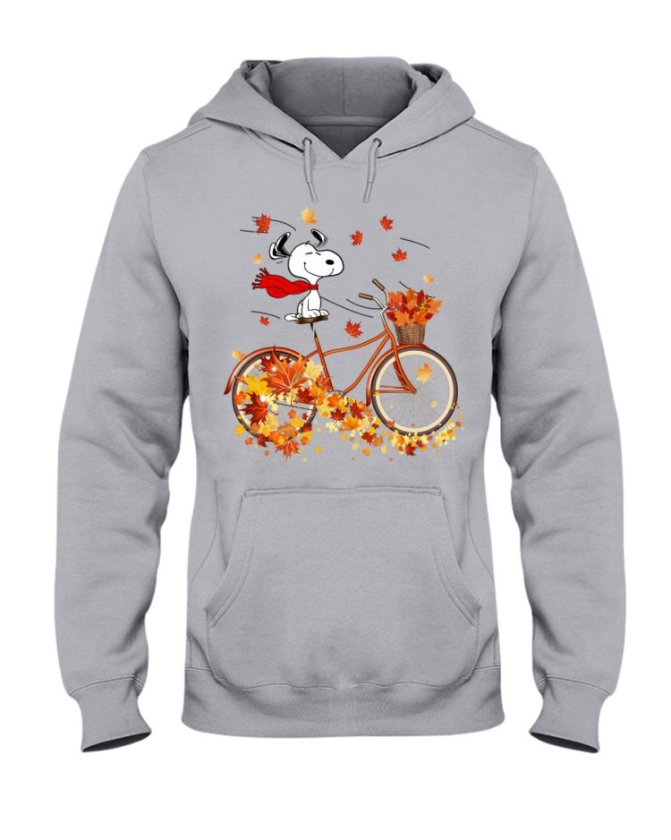 regular 307 750x938px Snoopy in Bicycle & Maple leaves Shirt