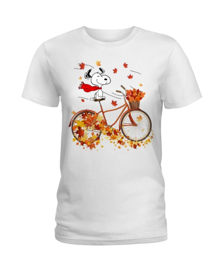 regular 308 750x938px Snoopy in Bicycle & Maple leaves Shirt