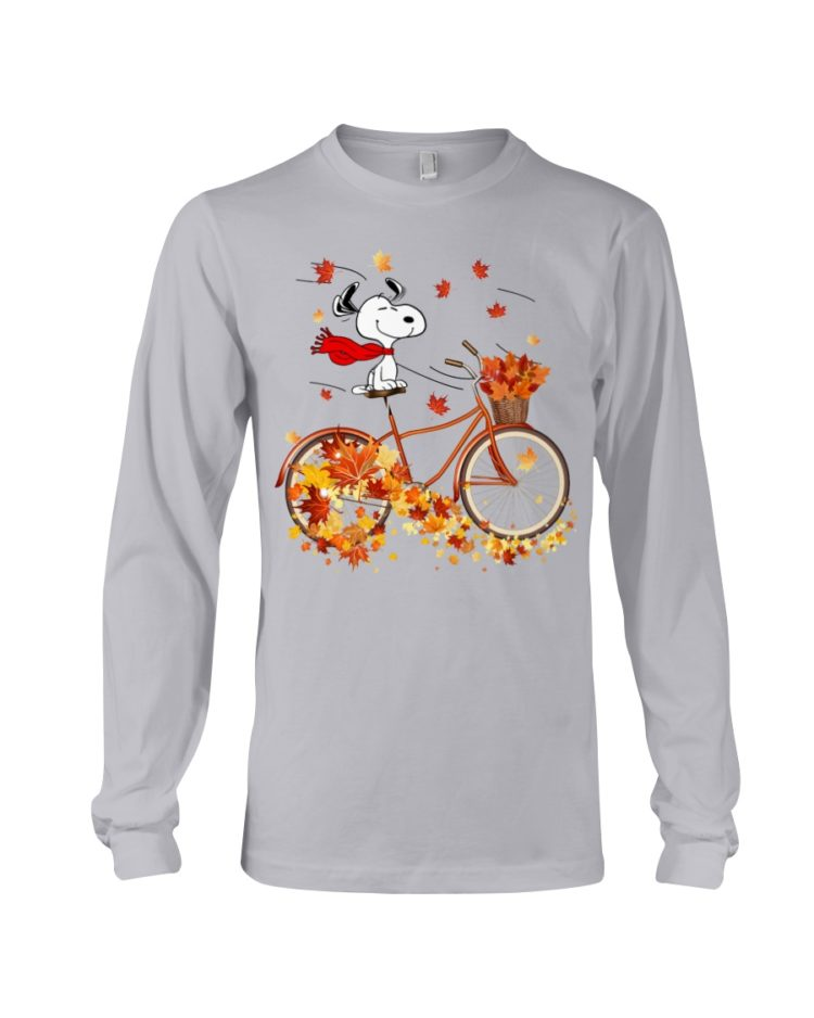 regular 310 750x938px Snoopy in Bicycle & Maple leaves Shirt