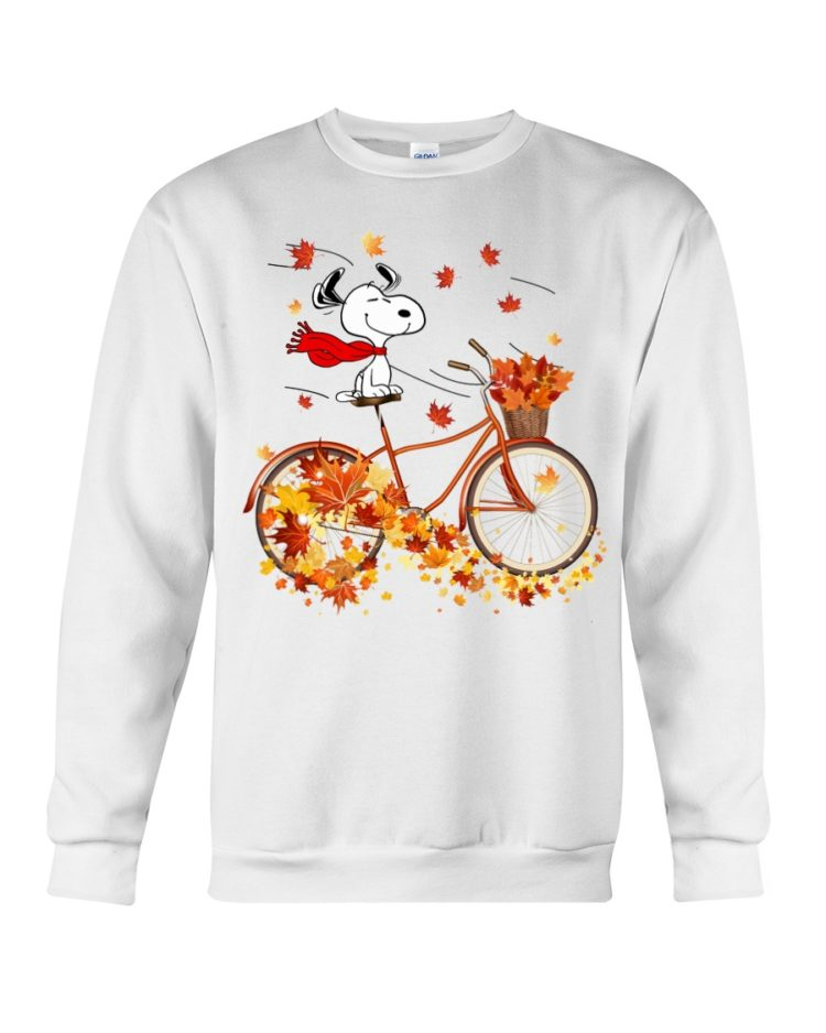 regular 311 750x938px Snoopy in Bicycle & Maple leaves Shirt