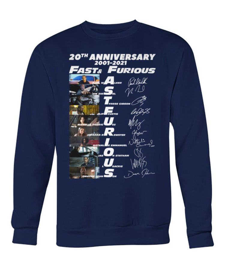 voRE9K 2Mrl1Zo Ba170pD front large 750x892px 20th Anniversary 2001 2021 Fast & Furious Shirt