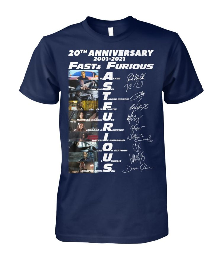 voRE9K re8Pm6b zb7Vn8B front large 750x892px 20th Anniversary 2001 2021 Fast & Furious Shirt