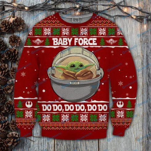 Baby yoda baby force do do full printing ugly christmas sweater 4 490x490px Baby Force Do Do Do 3D Printed Christmas Sweatshirt