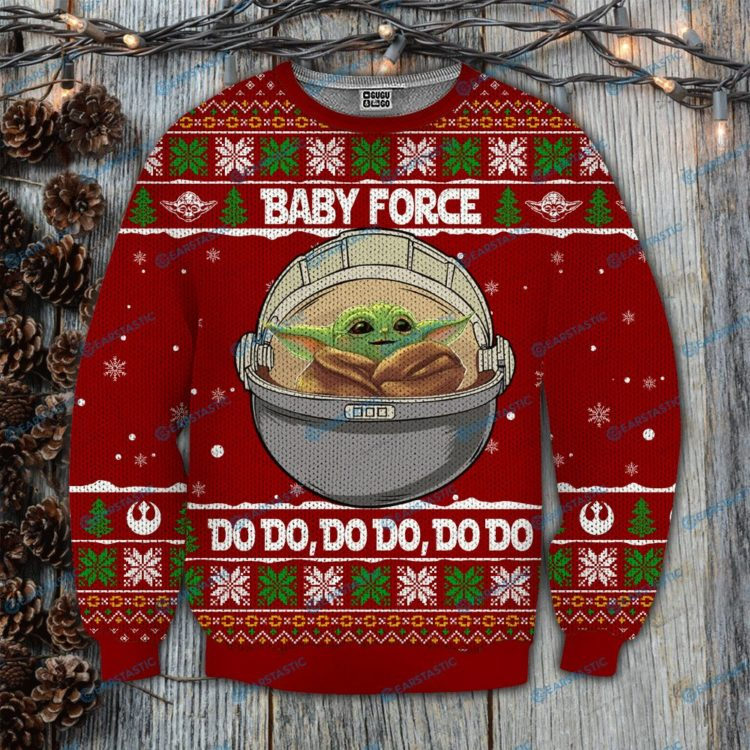 Baby yoda baby force do do full printing ugly christmas sweater 4 750x750px Baby Force Do Do Do 3D Printed Christmas Sweatshirt