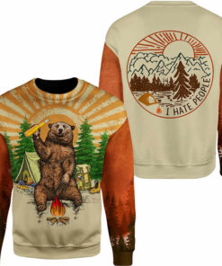 Fun Bear 3D Hooded Sweatshirt Cool Sweatshirt Camping pullover I HATE PEOPLE 1.jpg q50 1 247x296px Bear Camping I Hate People 3D Printed Shirt