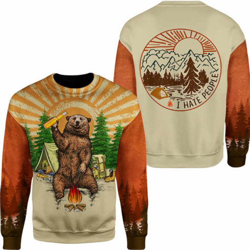 Fun Bear 3D Hooded Sweatshirt Cool Sweatshirt Camping pullover I HATE PEOPLE 1.jpg q50 1 490x490px Bear Camping I Hate People 3D Printed Shirt