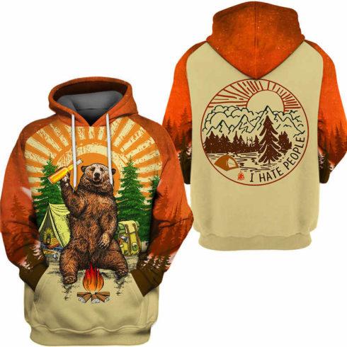 Fun Bear 3D Hooded Sweatshirt Cool Sweatshirt Camping pullover I HATE PEOPLE 2.jpg q50 2 490x490px Bear Camping I Hate People 3D Printed Shirt