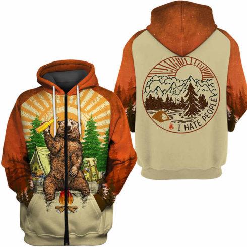 Fun Bear 3D Hooded Sweatshirt Cool Sweatshirt Camping pullover I HATE PEOPLE 3.jpg q50 3 490x490px Bear Camping I Hate People 3D Printed Shirt