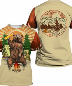 Fun Bear 3D Hooded Sweatshirt Cool Sweatshirt Camping pullover I HATE PEOPLE.jpg q50 247x296px Bear Camping I Hate People 3D Printed Shirt