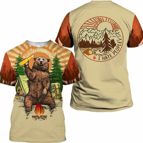 Fun Bear 3D Hooded Sweatshirt Cool Sweatshirt Camping pullover I HATE PEOPLE.jpg q50 490x490px Bear Camping I Hate People 3D Printed Shirt