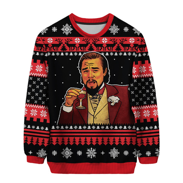 Laughing Leo Leonardo Dicaprio 3 D All Over Printpx Laughing Leo Leonardo Dicaprio 3D All Over Print Christmas Sweater
