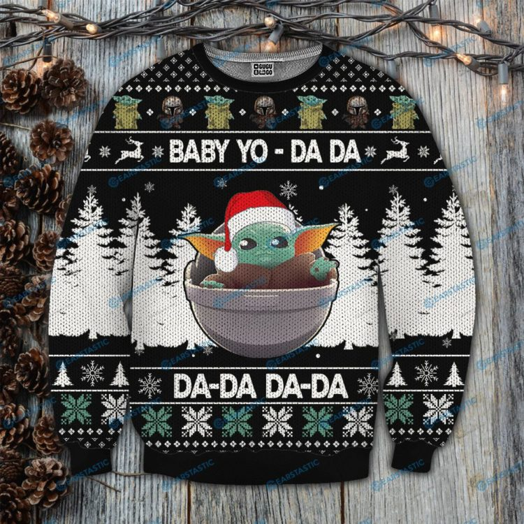 Star wars baby yoda da da da full printing ugly christmas sweater 1 750x750px Star Wars Baby Yoda Da Da Da 3D Christmas Sweatshirt
