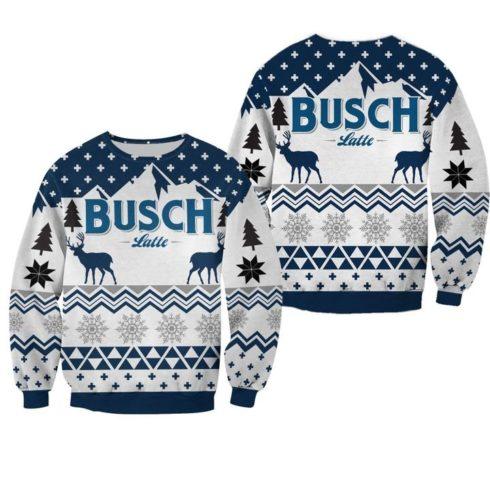 beer busch latte all over printed ugly christmas sweater 2 490x490px Bush Latte Deer 3D Printed Christmas Sweatshirt