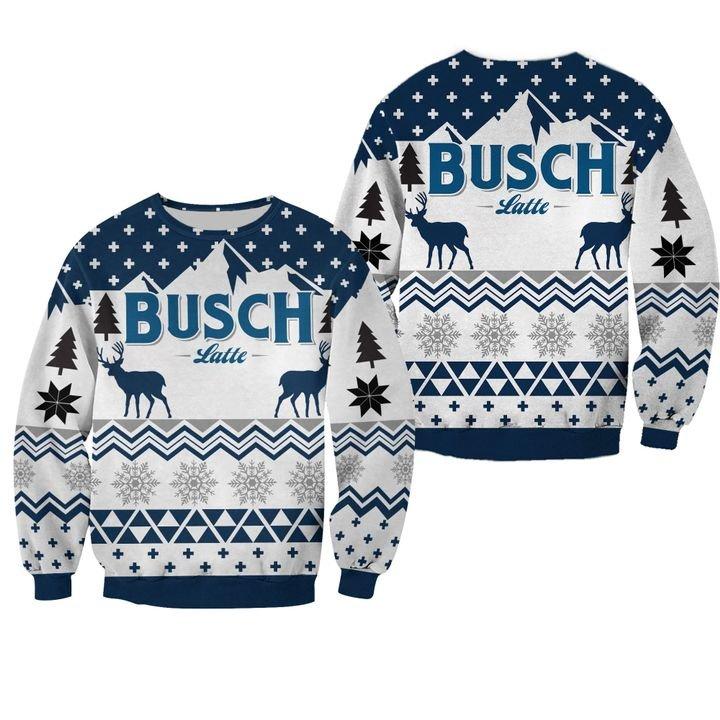 beer busch latte all over printed ugly christmas sweater 2px Bush Latte Deer 3D Printed Christmas Sweatshirt