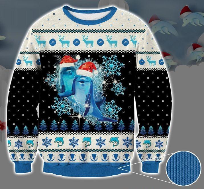 dolphin snowflake full printing christmas sweater 2 Copy 2px Dolphin Snowflake 3D Printed Christmas Sweatshirt