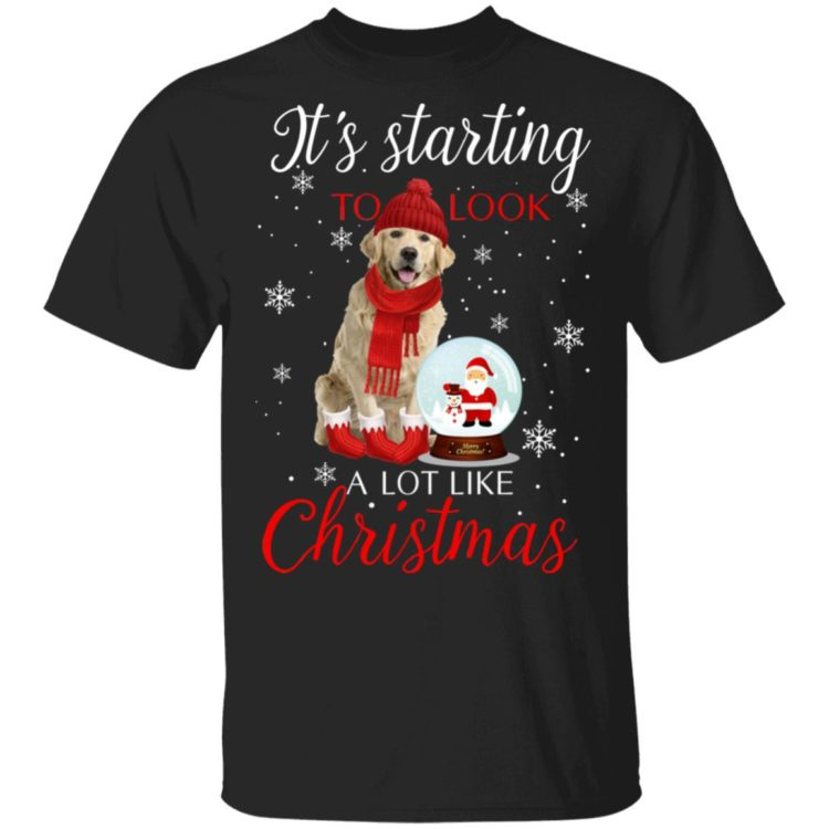 redirect11182020041137 750x750px Golden Retriever It's Starting To Look A Lot Like Christmas Shirt