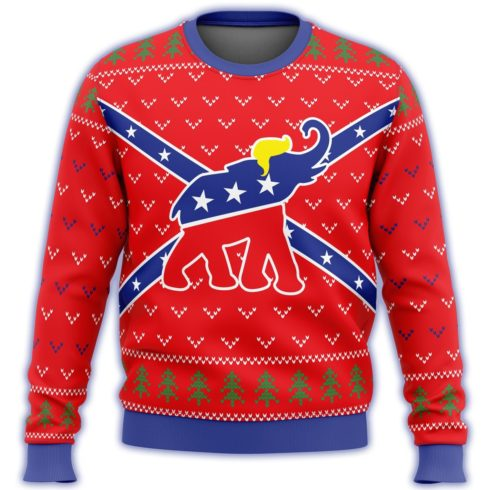 republican flag elephant all over printed ugly christmas sweater 3 490x490px Republican Flag Elephant Trump All Over Printed Christmas Sweatshirt