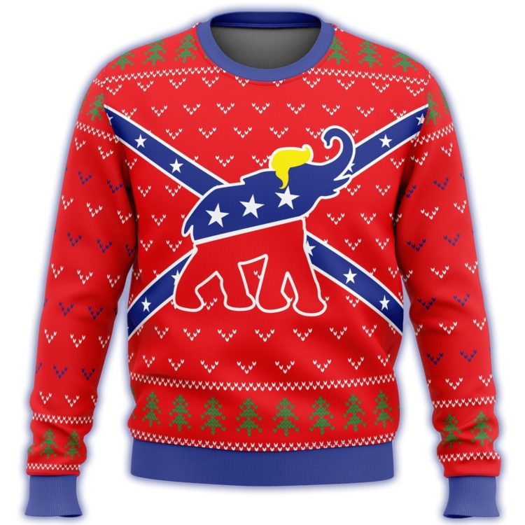 republican flag elephant all over printed ugly christmas sweater 3 750x750px Republican Flag Elephant Trump All Over Printed Christmas Sweatshirt