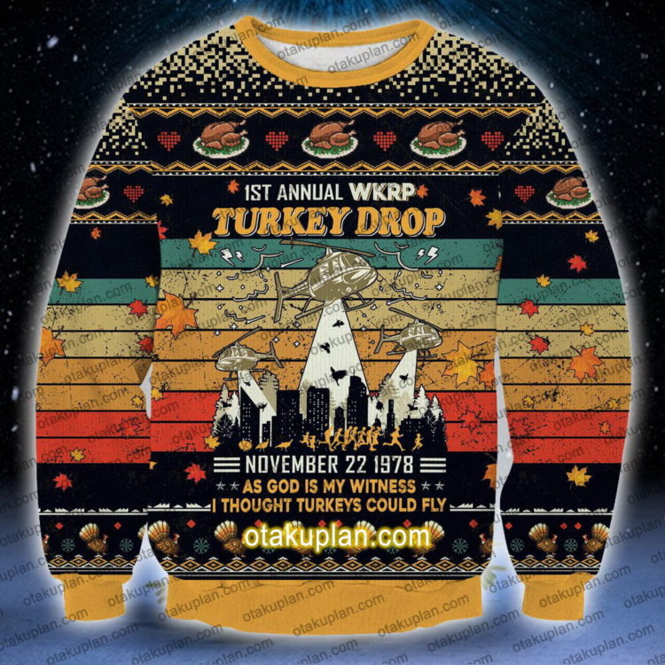 wkrp thanksgiving day sweatshirt 1 750x750px WKRP Thanksgiving Day | 1st Annual WKRP Turkey Drop 3D Printed Christmas Sweatshirt