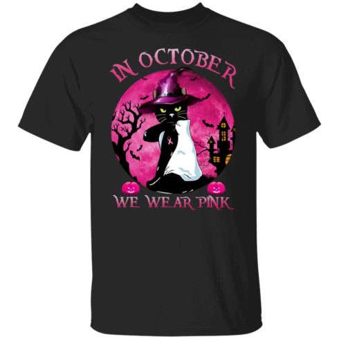 redirect09302021040956 2 490x490px Breast Cancer Black Cat Witch In October We Wear Pink Halloween Shirt