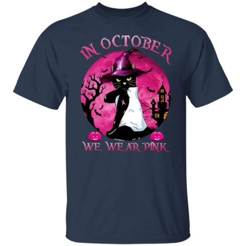 redirect09302021040956 3 490x490px Breast Cancer Black Cat Witch In October We Wear Pink Halloween Shirt