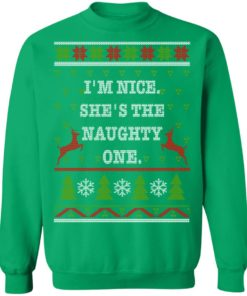 redirect10112021101058 10 247x296px I'm Nice She's The Naughty One Couples Christmas Sweatshirt