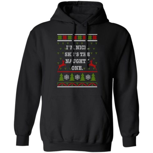 redirect10112021101058 490x490px I'm Nice She's The Naughty One Couples Christmas Sweatshirt