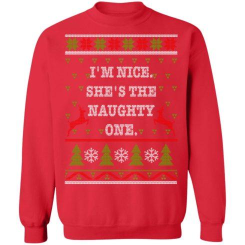 redirect10112021101058 7 490x490px I'm Nice She's The Naughty One Couples Christmas Sweatshirt